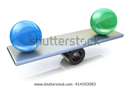 Two spheres in balance. 3d rendered illustration in the design of the information related to the concept of ideas - stock photo