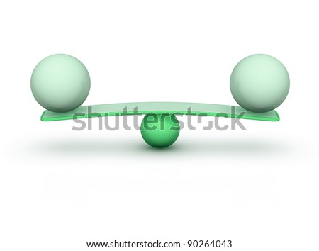 two spheres on seesaw balance concept - stock photo