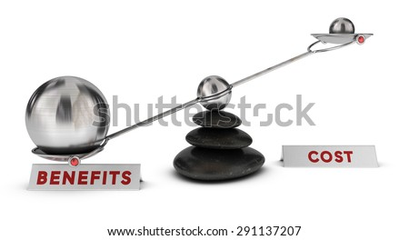 Two spheres with different sizes on a seesaw plus two signs cost and benefits over white background, marketing analysis concept or symbol - stock photo