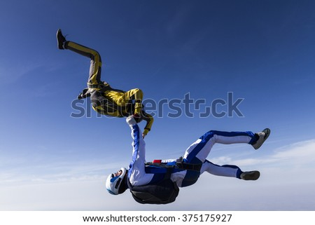 Two sportsmen skydiver in free style. - stock photo