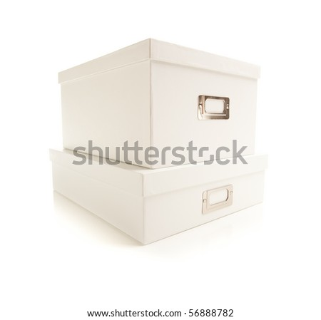 Two Stacked White File Boxes with Lids Isolated on a White Background. - stock photo