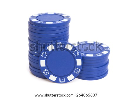 two stacks of blue poker chips on white with clipping path - stock photo