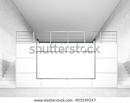 Two stairs leading to room in office, big poster between them. Concept of advertising. Mock up. 3D rendering - stock photo