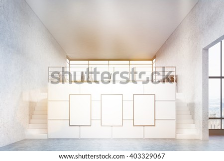 Two stairs leading to room in office, three boards between them. Toned, filter. Concept of advertising. Mock up. 3D rendering - stock photo