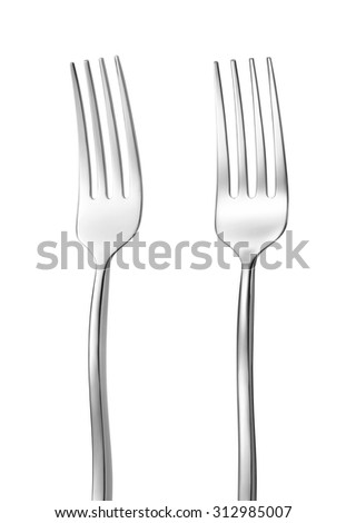 two steel forks isolated on white background - stock photo