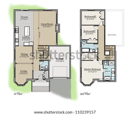 Architectural Plans Colored Two Storey Floor Plan Colored