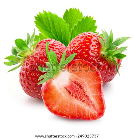 Two strawberries and a half closeup on white background - stock photo