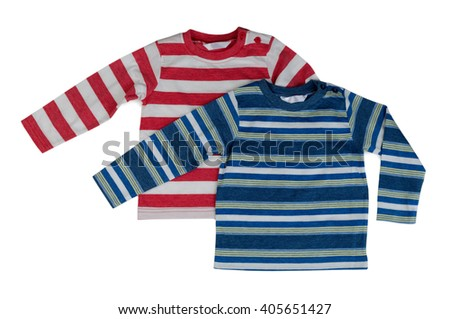 Two striped sweaters with long sleeves. Isolate on white. - stock photo