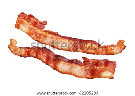 two strips of cooked bacon isolated on white background - stock photo