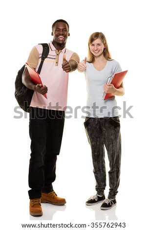 Two student on white background - stock photo
