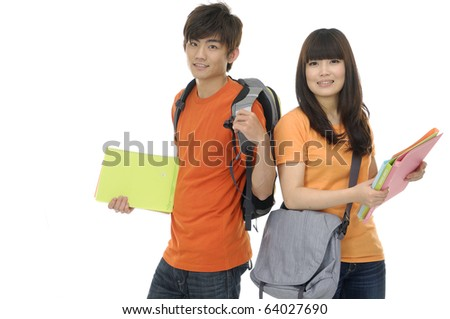 Two students with books and backpacks ,isolated - stock photo