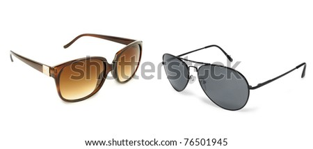 Two sunglasses isolated on white - stock photo