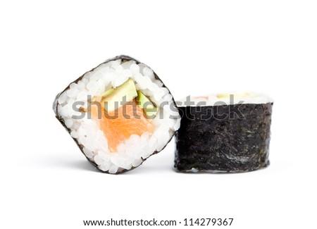 Two sushi maki rolls, isolated on white - stock photo