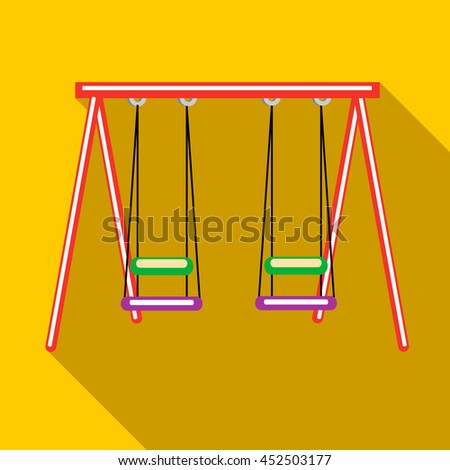 Two swings icon in flat style on a yellow background - stock photo