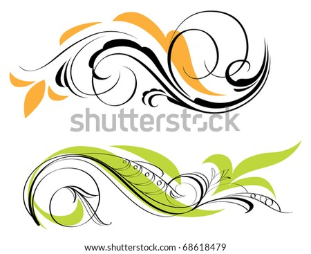 Two swirl decorations. Raster version. Vector version is also available. - stock photo