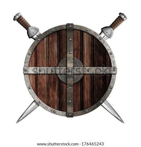 Two swords behind wooden round shield isolated - stock photo