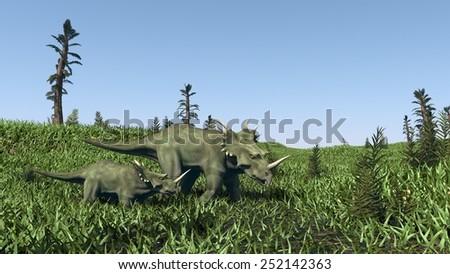 two syracosauruses walking in grassland - stock photo