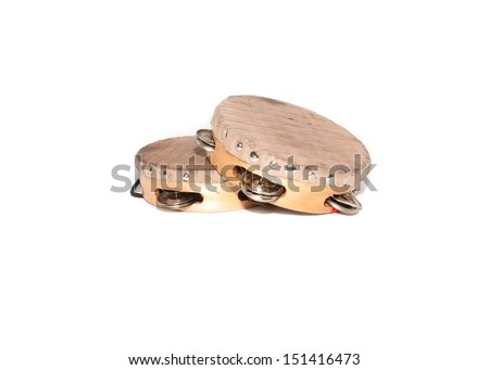 two tambourines leather and wood on white background - stock photo