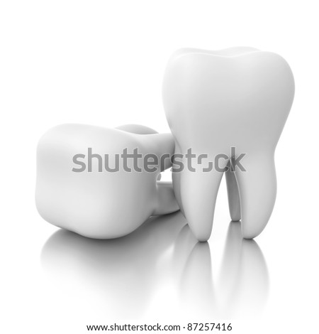 two teeth isolated on mirror floor - stock photo