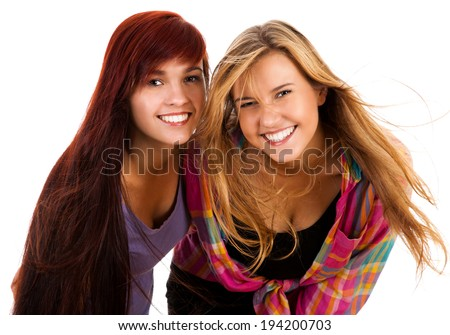 two the best girl friends, white background - stock photo