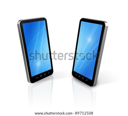 two three dimensional connected mobile phones isolated on white - stock photo
