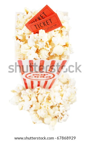 two tickets in a popcorn container, isolated on white - stock photo