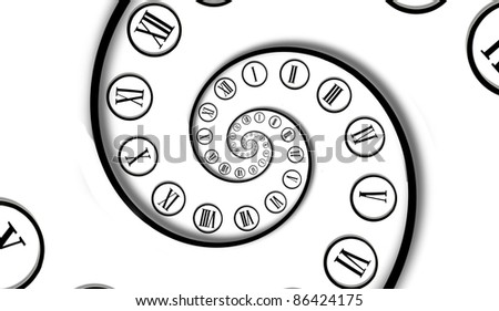 Two time spirals together - stock photo