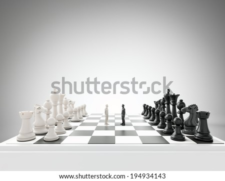 Two tiny figures standing on a chess board - conflict and competition concept illustration - stock photo