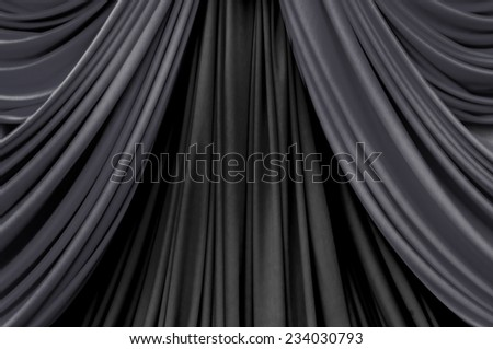 two tone of black curtain on stage curtain on stage for luxury background - stock photo