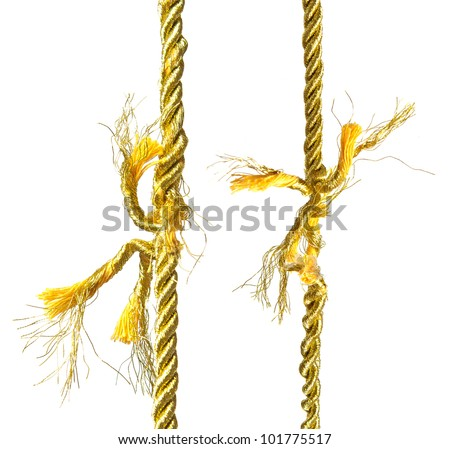 Two torn gold ropes isolated on white - stock photo