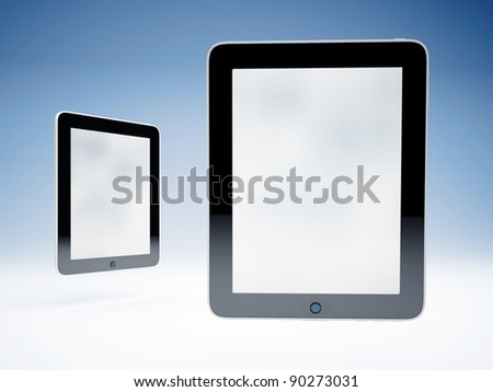 Two touchscreen tablets - stock photo