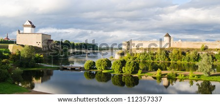 Two towers on the border of Estonia and Russia - stock photo