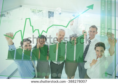 Two transfused patients lying on a medical bed against business team celebrating a good job - stock photo