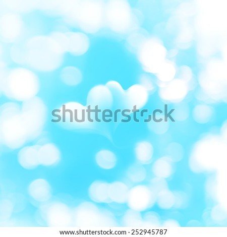 Two Transparent Valentines Hearts in Natural Bokeh isolated on Blue Background, Vintage Color - stock photo