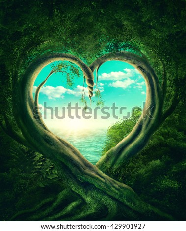 Two trees forming a heart - stock photo