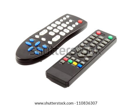 two TV remote control on a white background - stock photo