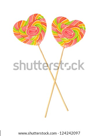 Two Valentines Day heart-shaped lollipops isolated on white - stock photo