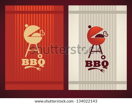 two variation of cover for your BBQ and grill menu - stock photo
