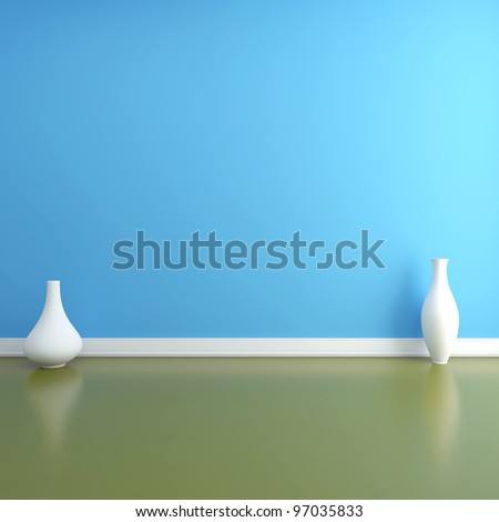 Two vases on the floor in an empty interior - stock photo