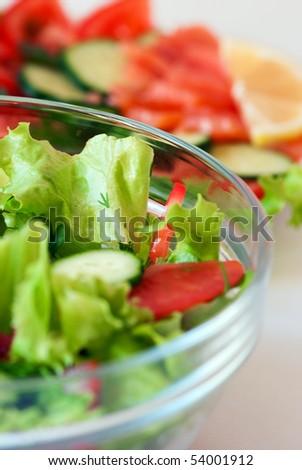 Two vegetable salads - stock photo
