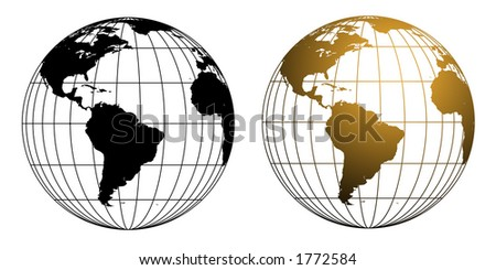 Two versions of a vector illustration of a wireframe style globe in black and gold tones. - stock photo