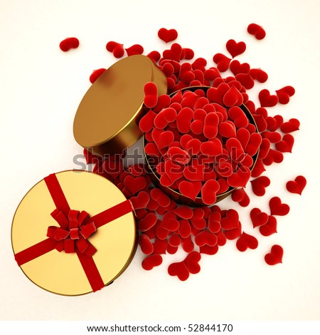 two versions of gifts. open with lots of velvet hearts and closed with velvet ties. with clipping path - stock photo