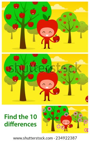 Two versions of illustrations with ten differences to be spotted in a brainteaser for children in a kids puzzle of a funny apple character in an orchard - stock photo