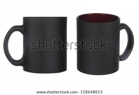 two views of black cups isolated on white - stock photo