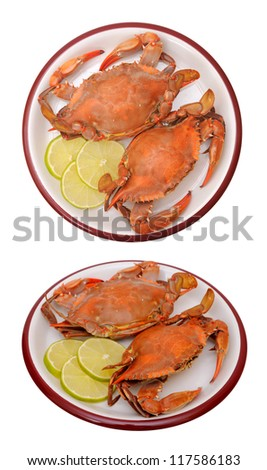 two views of steam crabs on dish - stock photo