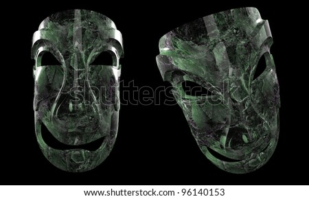 Two views of weird mask. - stock photo