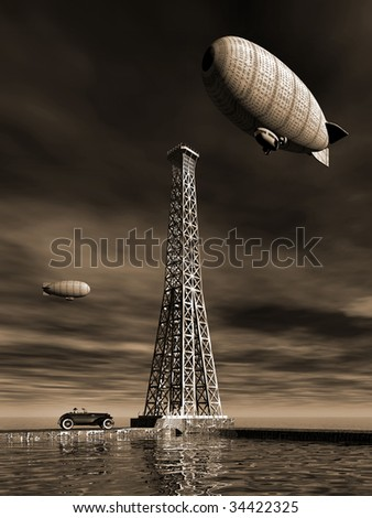 Two Vintage blimps circle the town as the man in hat sits in his old car and watches by the water. Surreal Illustration - stock photo