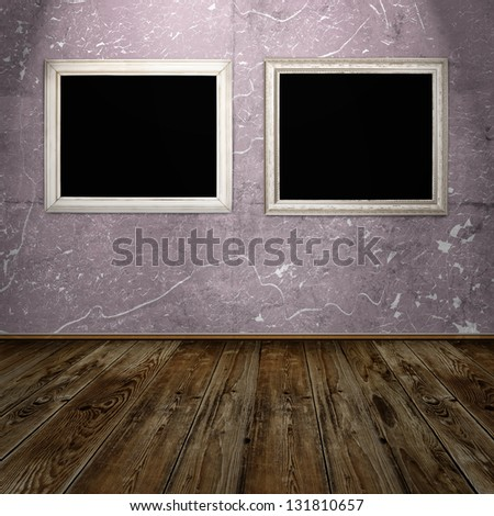 two vintage frames in blue grunge room - stock photo