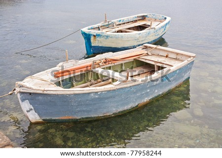 Two Vintage Small Boats - stock photo