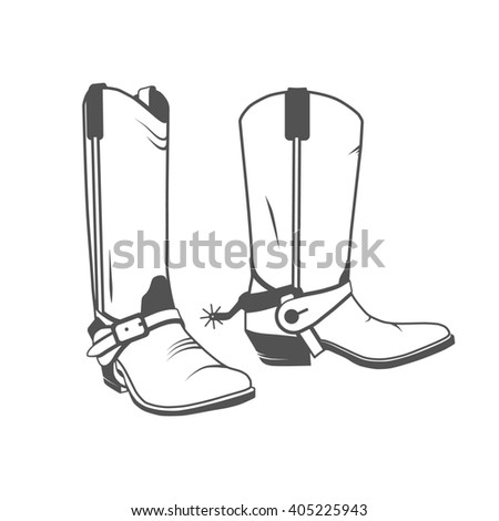Two Vintage Western Cowboy Boots. Photo illustration. - stock photo